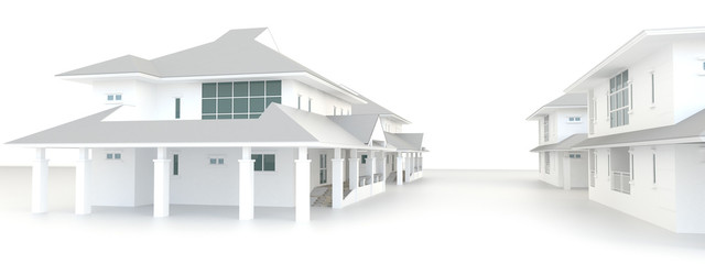 3D residential estate architecture exterior design in white back