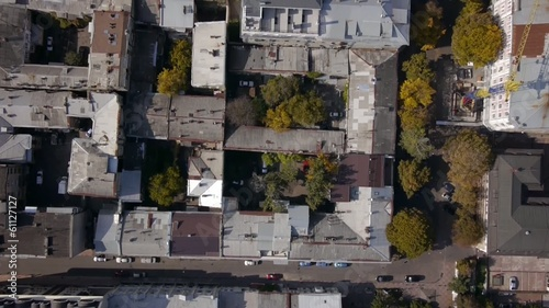 Aerial view urban quarter. Flight over the rooftops.Odessa city