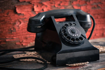 Classic black dial-up rotary telephone