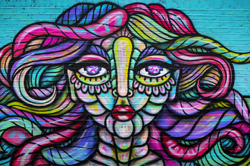 Urban art, abstract woman's face