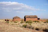 Traditional clay buildings in Bolivian Altiplano, Bolivia