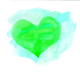 Watercolor heart. Green and blue colors