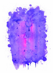 Abstract watercolor painting. Purple and pink  colors
