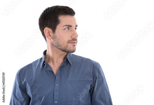 canvas print picture Gesicht: junger Mann freigestellt im Business Hemd blau