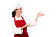 Female chef presenting something