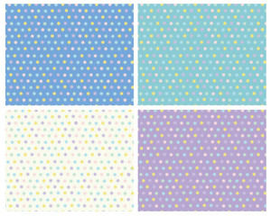 Vector polka dots seamless colorful patterns, blurred effect.