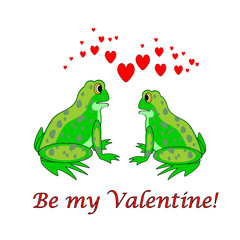 A couple of funny cartoon frogs with hearts. Valentine's Day car