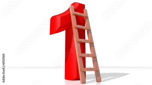 Red Number One with ladder