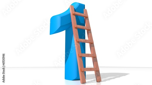 Blue Number One with ladder