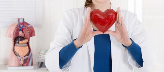 Arzt hält Herz in der Hand - Konzept für Gesundheit und Infarkt