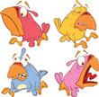 set of birdies cartoon