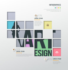 Modern infographics squares template for business shopping