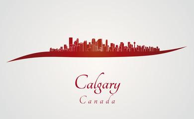 Calgary skyline in red