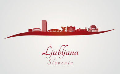 Ljubljana skyline in red