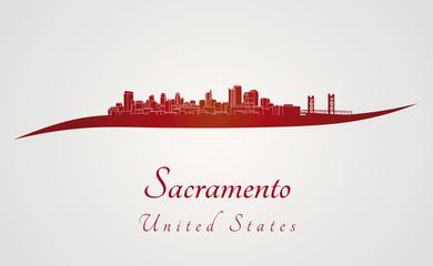 Sacramento skyline in red