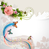 Background with rose and butterflies