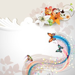 Background with lilies and butterflies
