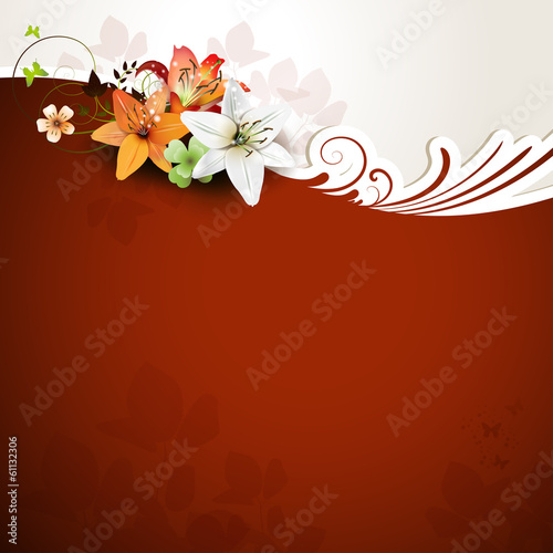 Red background with lilies