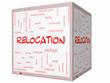 Leinwandbild Motiv Relocation Word Cloud Concept on a 3D cube Whiteboard