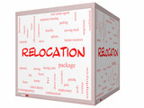 Relocation Word Cloud Concept on a 3D cube Whiteboard poster