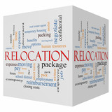 Relocation 3D cube Word Cloud Concept poster
