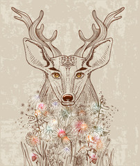 Cartoon background with deer and flowers