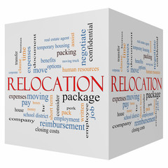 Relocation 3D cube Word Cloud Concept
