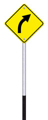 Road sign warning of dangerous right curve isolated on white bac