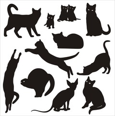 Vector Silhouettes of cats & kittens