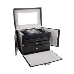 Black leather jewelery box isolated on white