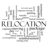 Relocation Word Cloud Concept in black and white poster