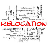 Relocation Word Cloud Concept in red caps poster