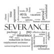 Leinwandbild Motiv Severance Word Cloud Concept in black and white