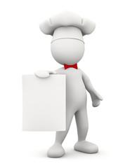 cuoco con menu'