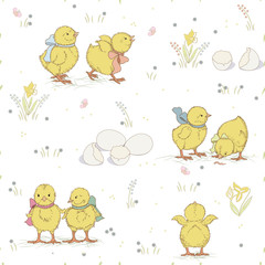 Seamless pattern with cute chickens
