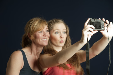 Taking a selfie photo with a camera