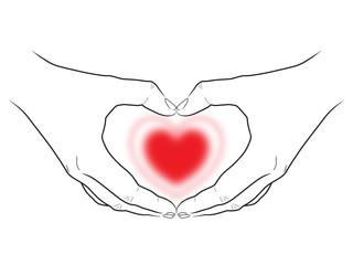 Zeichnung: Zwei Hände umfassen herzförmig ein rotes Herz