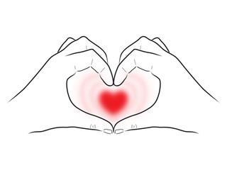Zeichnung: Zwei Hände umfassen herzförmig ein pulsierendes Herz