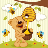 tteddy bear takes honey bees - vector illustration
