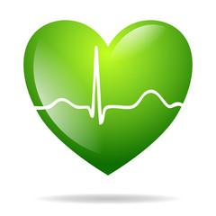 grünes Herz mit EKG Kurve