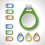 Set of colorful blank badges, tags, banners, labels