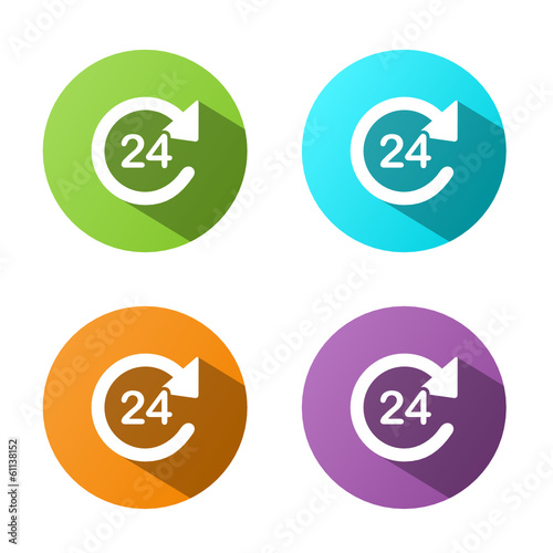 24 HOUR ICON buttons poster (set opening hours service)