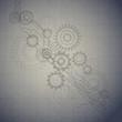 Technology blueprint retro background, vector illustration