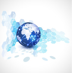 World network and technology background, vector illustration