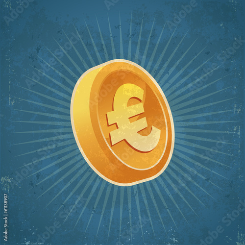 Retro Gold Euro Coin