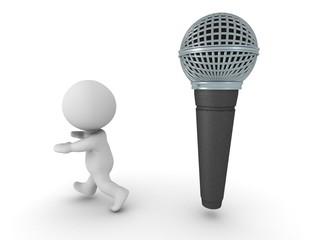 3D Man is afraid of public speaking