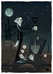 Funny scene in the cemetery.
