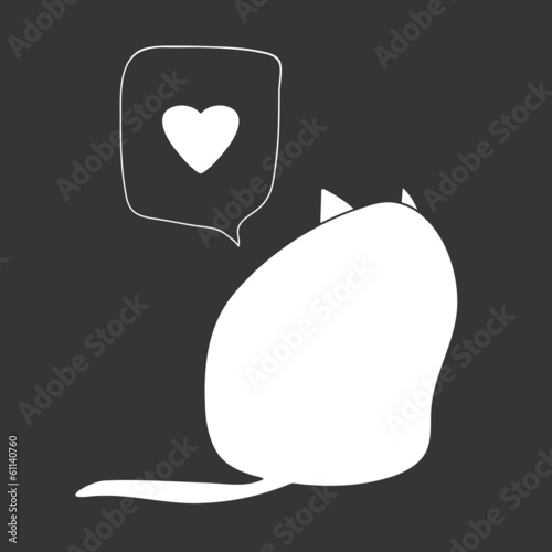 Cute romantic card with a cat. St.Valentine's Day  illustration.