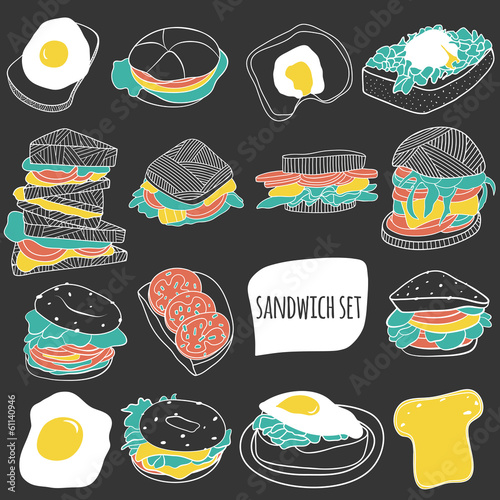 Cartoon sandwich set. Food illustration - 61140946