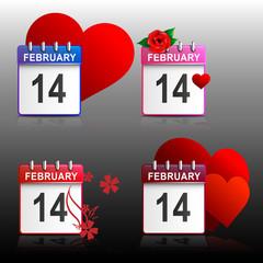 Set calendars Valentines